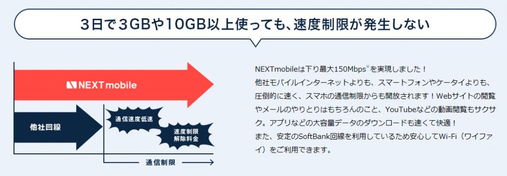 ネクストモバイル 3日間制限 速度制限